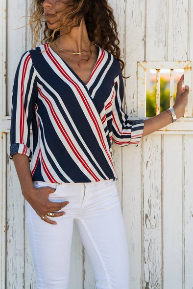 Stripe Long Sleeve V Neck Shirts
