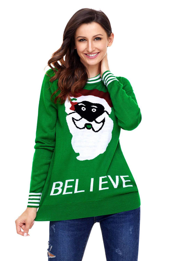 Black Santa Christmas Sweater (LC27812-9-1)