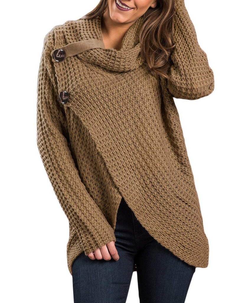 Khaki Buttoned Wrap Cowl Neck Sweater