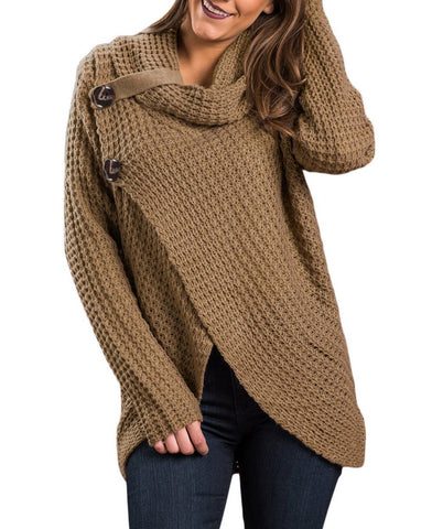 Image of Khaki Buttoned Wrap Cowl Neck Sweater