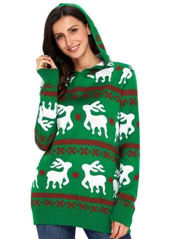 Cute Christmas Reindeer Knit Hooded Sweater (LC27785-9-1)