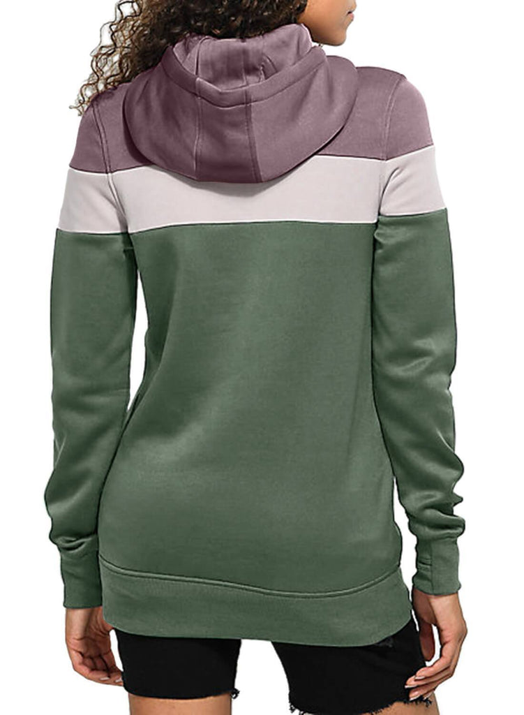 Color Block Front Pocket Hooded Sweatshirt (LC251478-9-2)