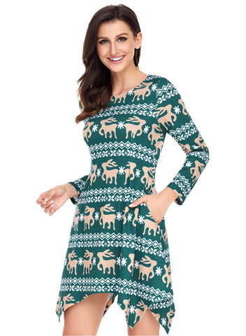 Image of Cute Christmas Reindeer Print Swingy Mini Dress (LC220212-9-2)