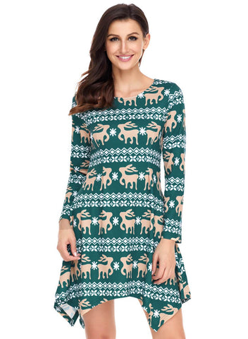 Image of Cute Christmas Reindeer Print Swingy Mini Dress (LC220212-9-1)