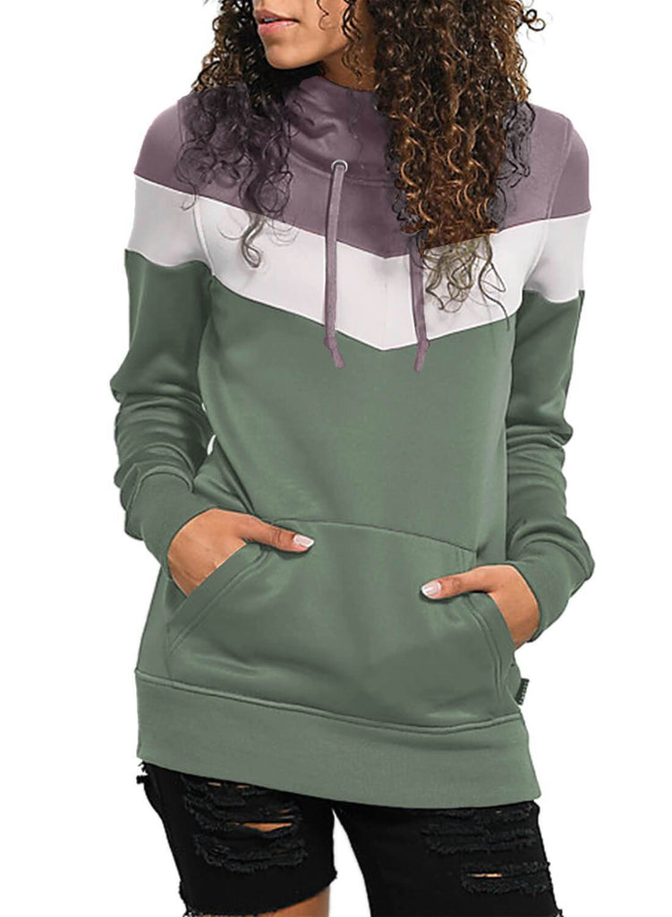 Color Block Front Pocket Hooded Sweatshirt (LC251478-9-1)
