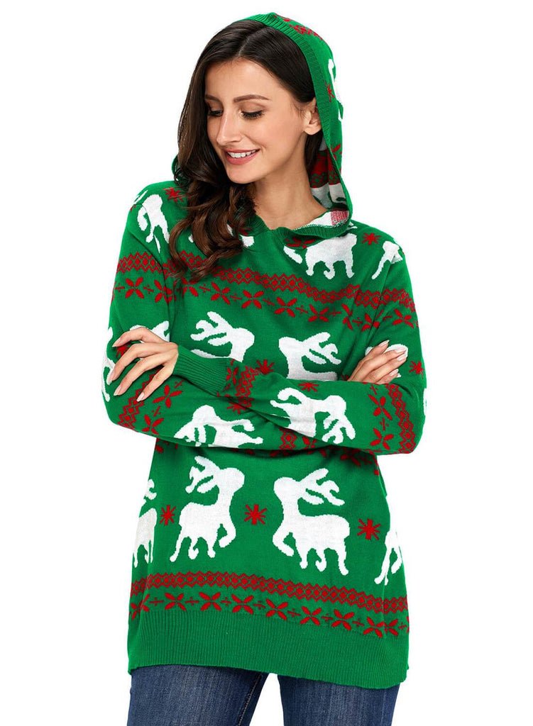 Cute Christmas Reindeer Knit Hooded Sweater (LC27785-9-3)