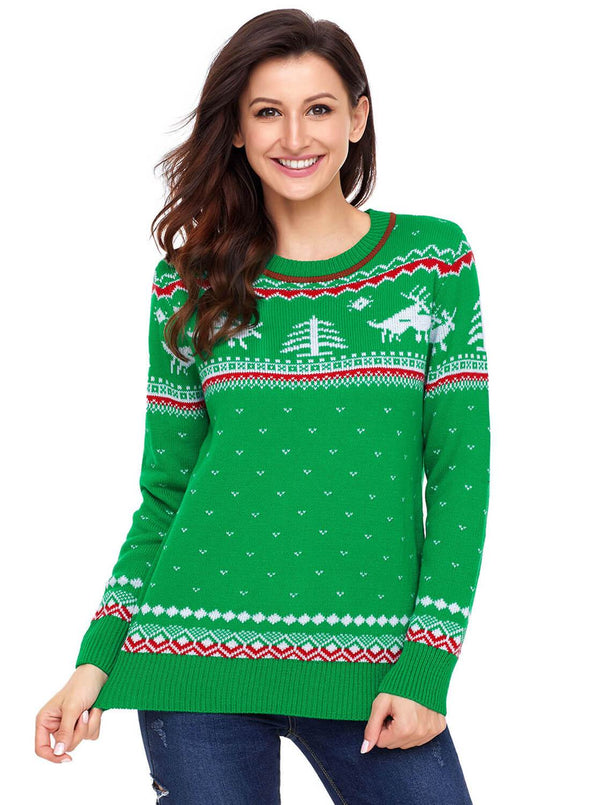 Christmas Reindeer Knit Sweater (LC27790-9-1)