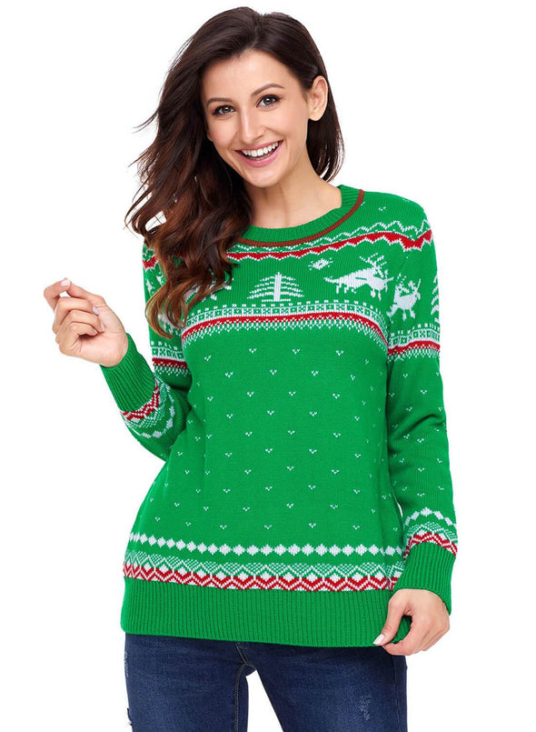 Christmas Reindeer Knit Sweater (LC27790-9-3)