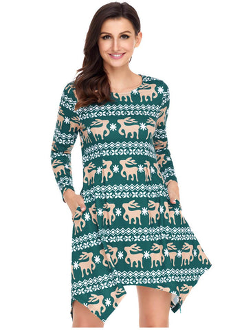 Image of Cute Christmas Reindeer Print Swingy Mini Dress (LC220212-9-3)