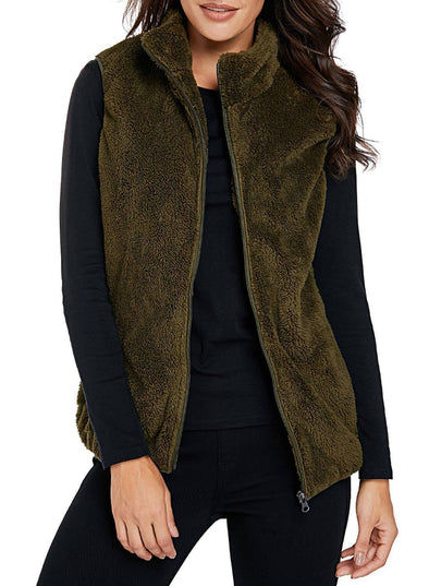 Furry High Neck Vest Jacket