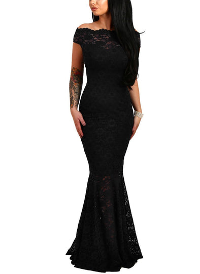 Bardot Lace Fishtail Maxi Dress (LC61481-2-1)