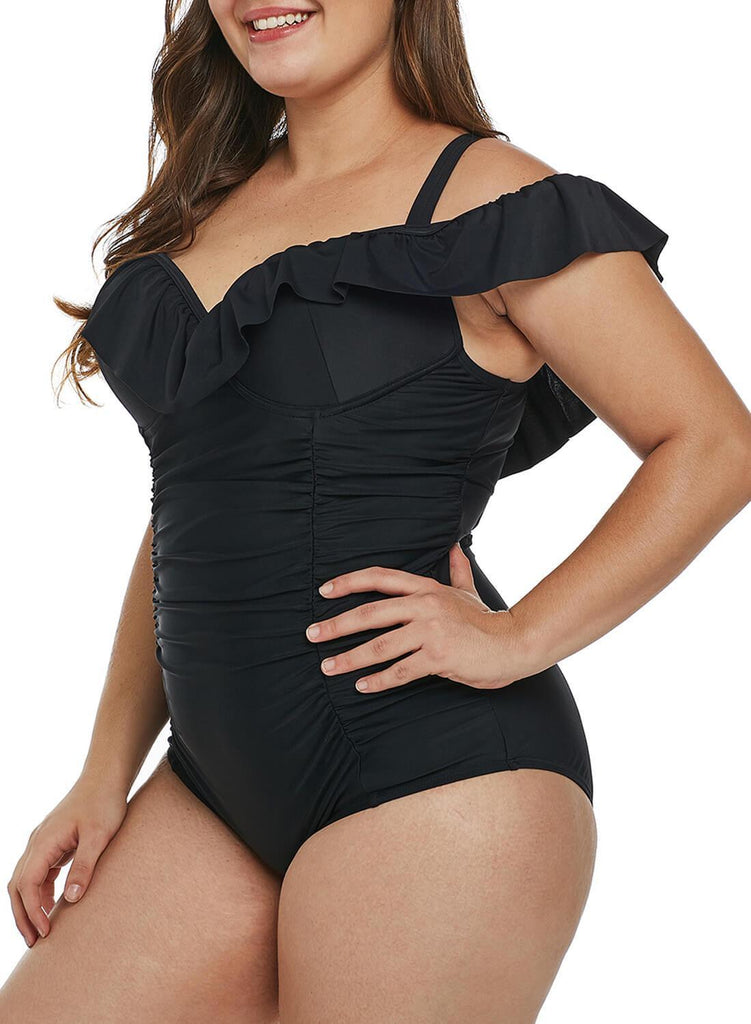 0ac13f5653a5 Ruched Ruffle One Piece Swimsuit. Hover to zoom
