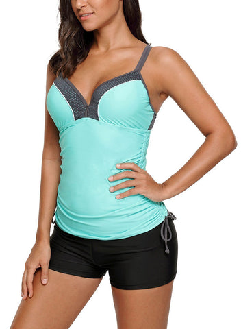 Image of Bralette Tankini Top with Shorts Swimsuit