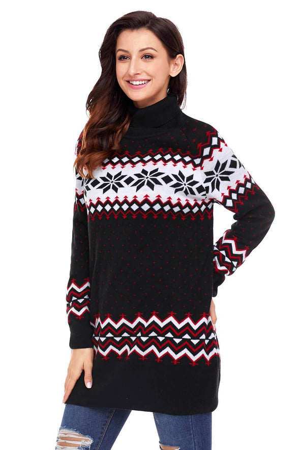 Christmas Snowflake Knit Turtleneck Jumper (LC27807-2-3)