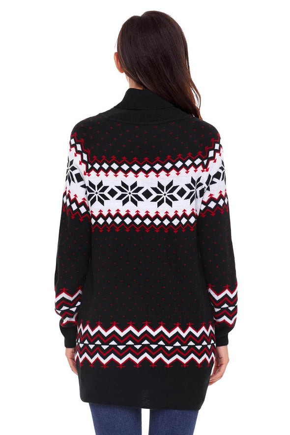 Christmas Snowflake Knit Turtleneck Jumper (LC27807-2-2)