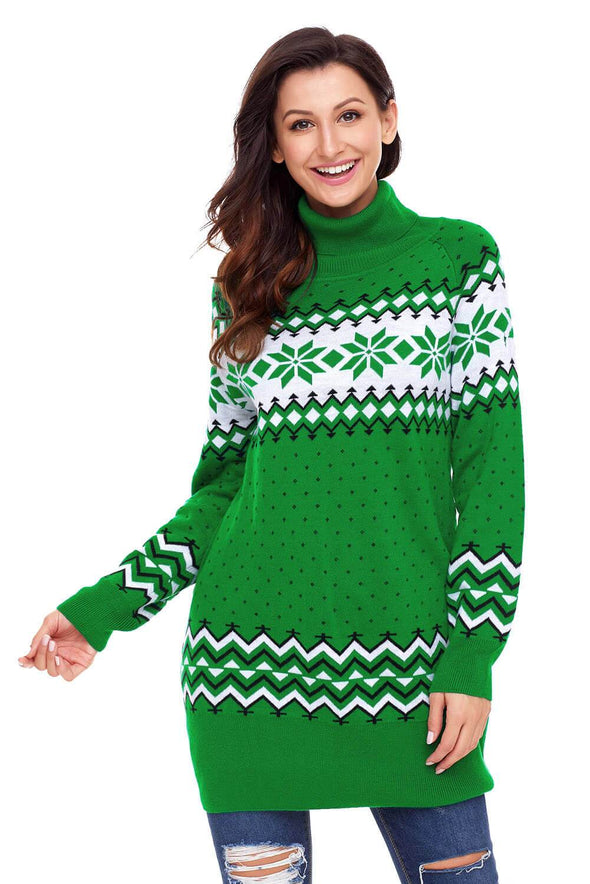 Christmas Snowflake Knit Turtleneck Jumper (LC27807-9-1)