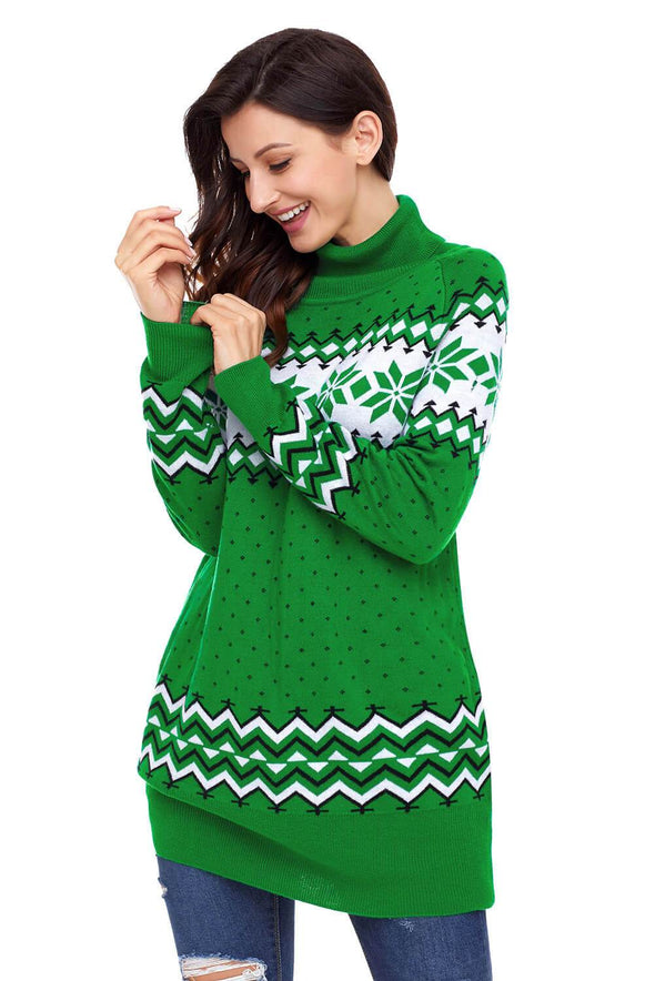 Christmas Snowflake Knit Turtleneck Jumper (LC27807-9-3)