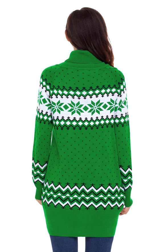 Christmas Snowflake Knit Turtleneck Jumper (LC27807-9-2)