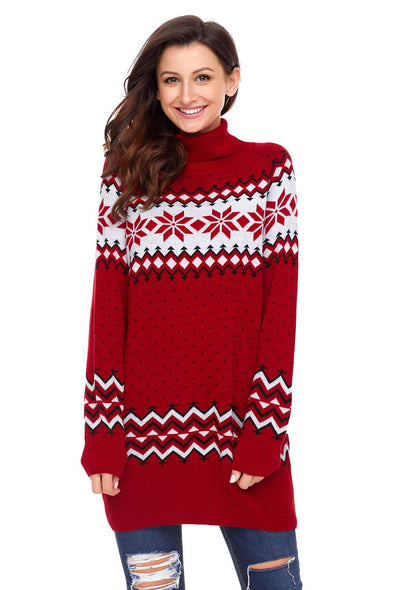 Christmas Snowflake Knit Turtleneck Jumper (LC27807-3-1)