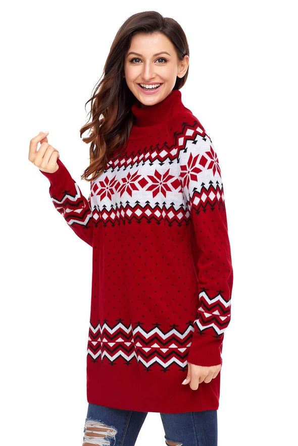 Christmas Snowflake Knit Turtleneck Jumper (LC27807-3-3)