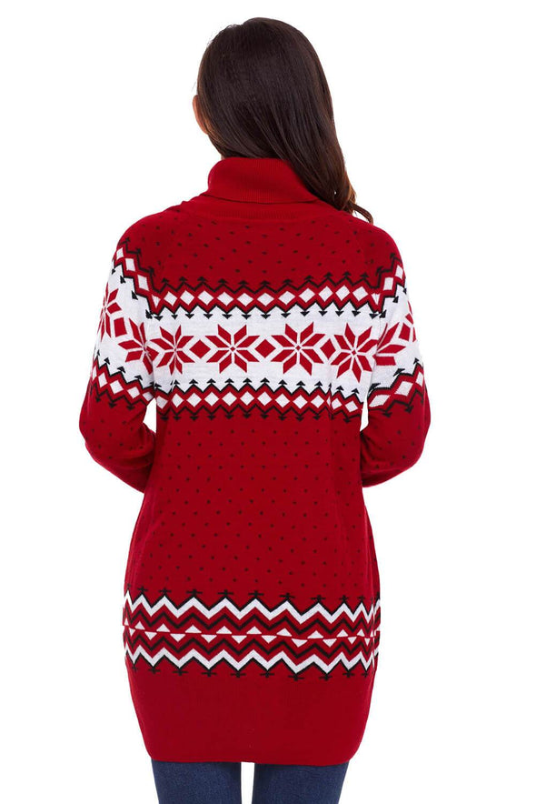 Christmas Snowflake Knit Turtleneck Jumper (LC27807-3-2)