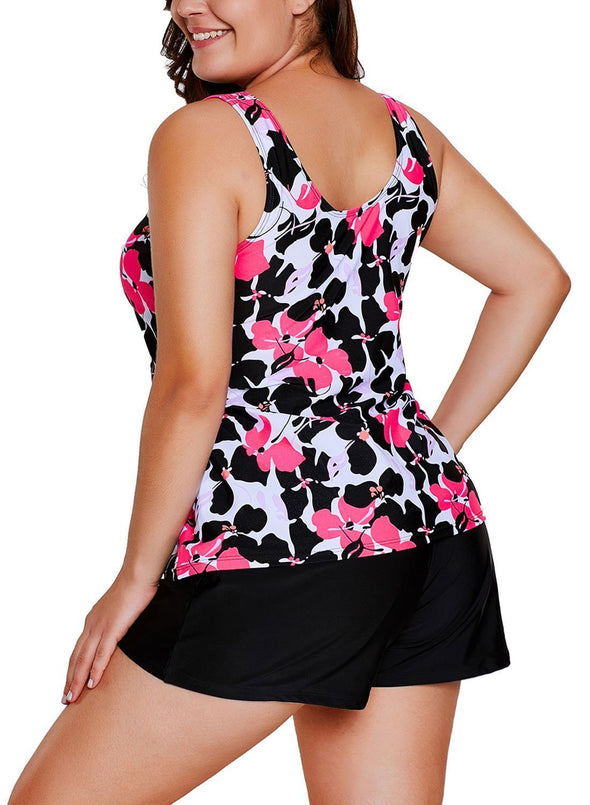 Floral Print Tankini and Short Swimsuit