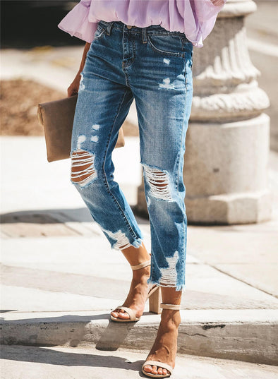 Fashion Distressed Casual Denim
