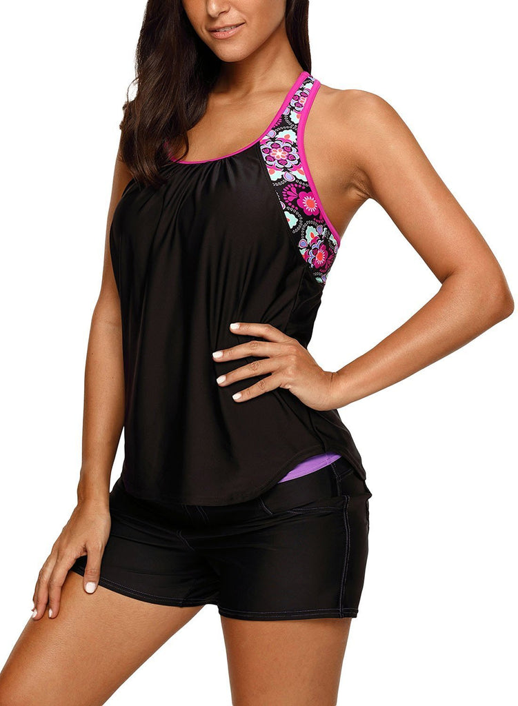Blouson Style Floral T-back Tankini Top (LC410457-2-3)