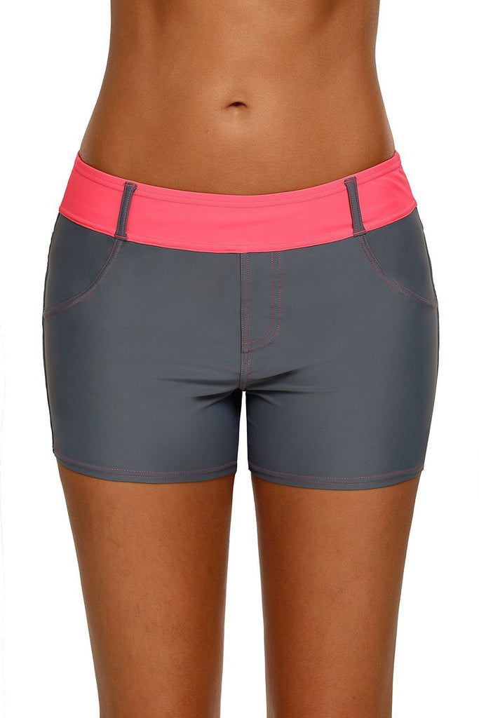 Waistband Faux Denim Sports Shorts