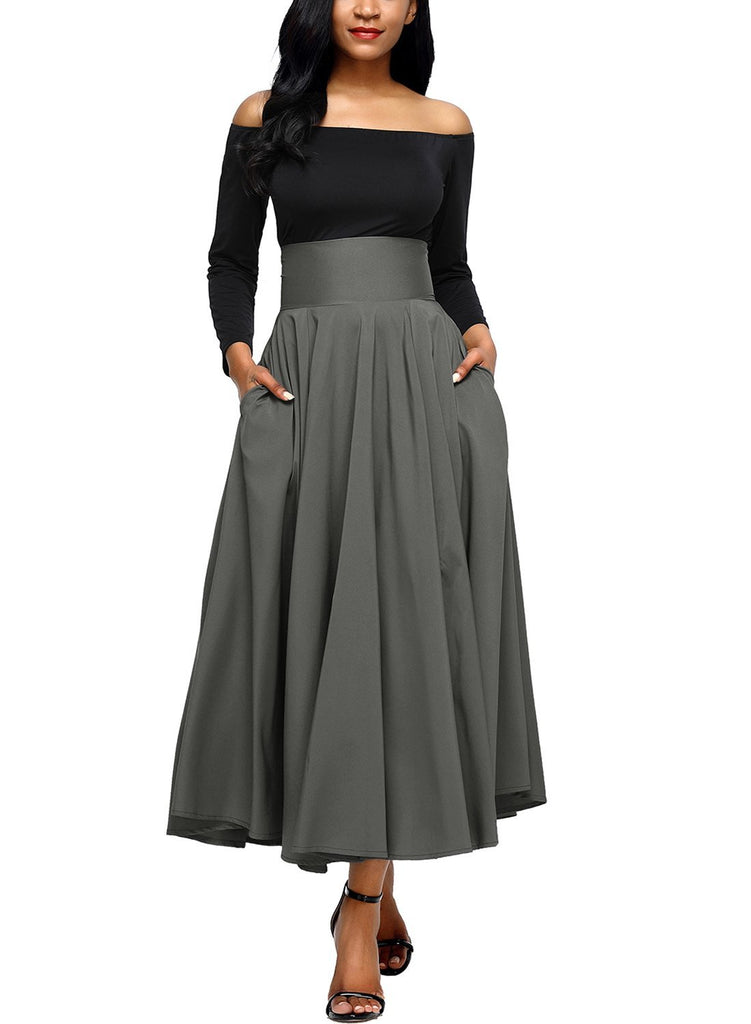 ec3e7899112d9 Front Slit Belted A-Line Pleated Skirt. Click to expand