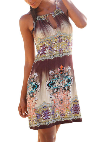 Ethnic Bohemian Print Keyhole Front Dress