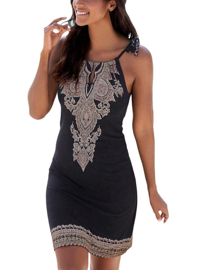 Ethnic Bohemian Print Keyhole Front Dress (LC220355-2-1)