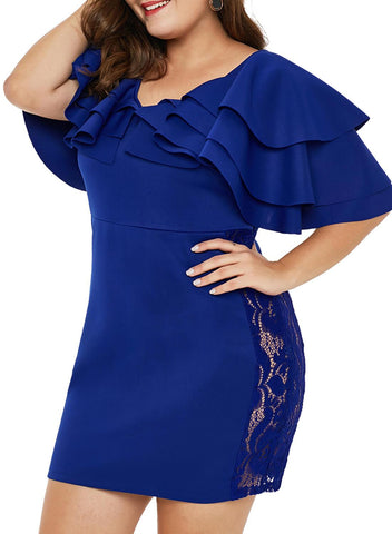 Image of Cascading Shoulder Lace Insert Plus Size Dress (LC220528-5-3)