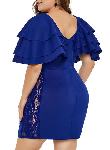Image of Cascading Shoulder Lace Insert Plus Size Dress (LC220528-5-4)