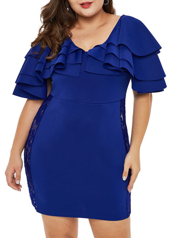 Image of Cascading Shoulder Lace Insert Plus Size Dress (LC220528-5-1)