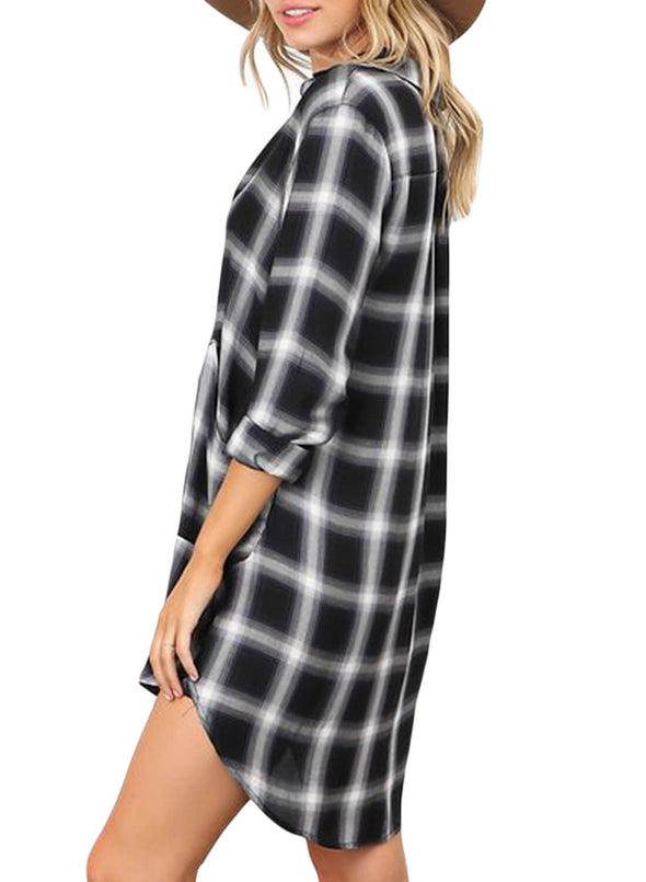 Plaid Pocket Style Shirt Dress (LC220562-2-2)