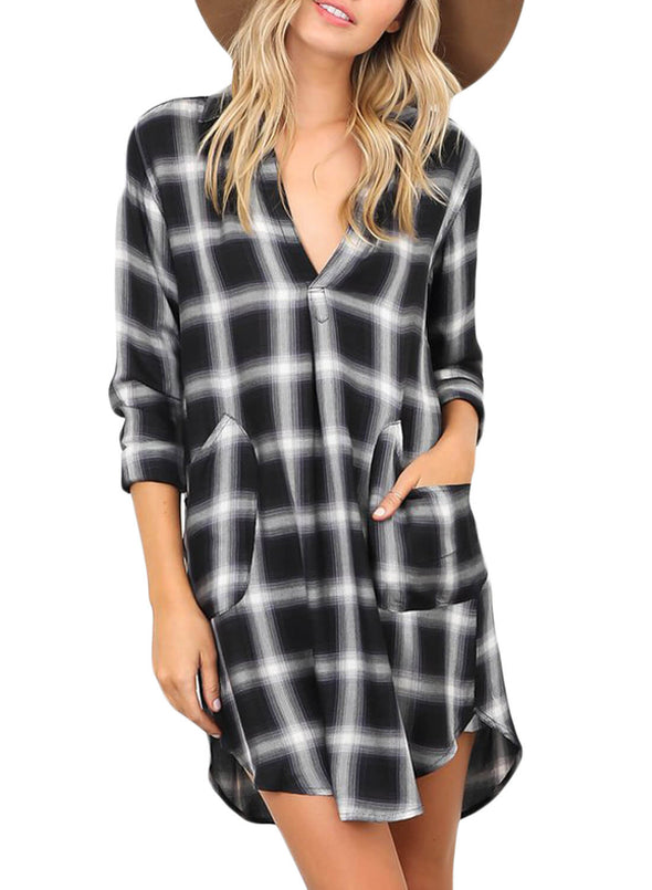 Plaid Pocket Style Shirt Dress (LC220562-2-3)