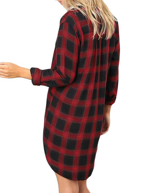 Plaid Pocket Style Shirt Dress (LC220562-3-2)