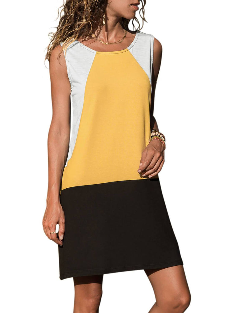 Color Block Geometric Sundress (LC220636-7-1)
