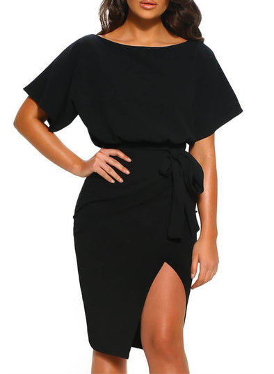 Belted Wrap Front Slim Slit Dress (LC220656-2-1)