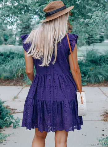 Short Sleeve Ruffled Boho Mini Dress