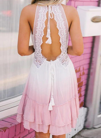 Open Back Crochet Ombre Dress