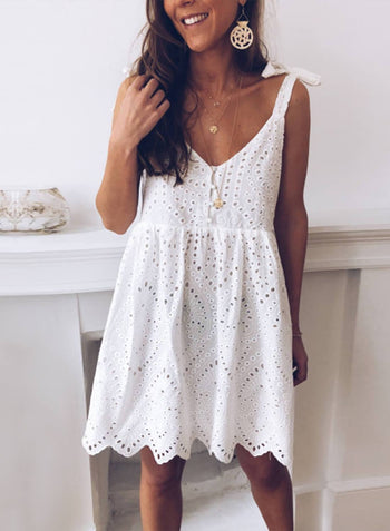 Adjustable Straps Eyelets Babydoll Dress