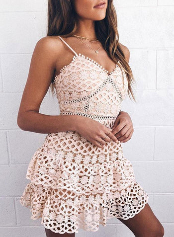 Spaghetti Crochet Mini Dress
