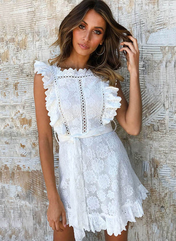 Sleeveless Ruffled Lace Mini Dress