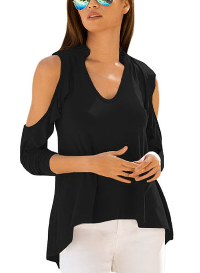 Cold Shoulder Ruffle Top (LC250299-2-1)