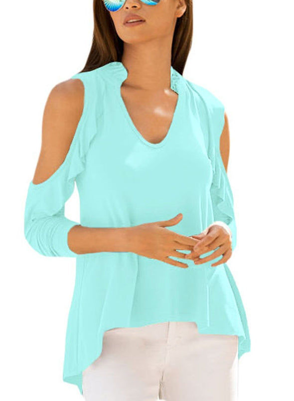 Cold Shoulder Ruffle Top (LC250299-9-1)
