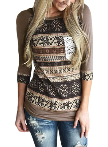Image of Raglan Sleeve Lace Pocket Detail Printed Top