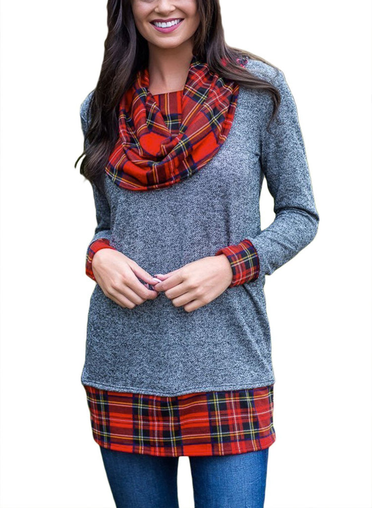 Wind Plaid Cowl Neck Tunic