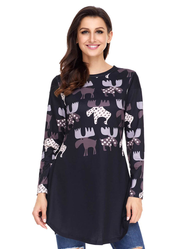 Cartoon Reindeer Print Mauve Christmas Top (LC250594-2-1)